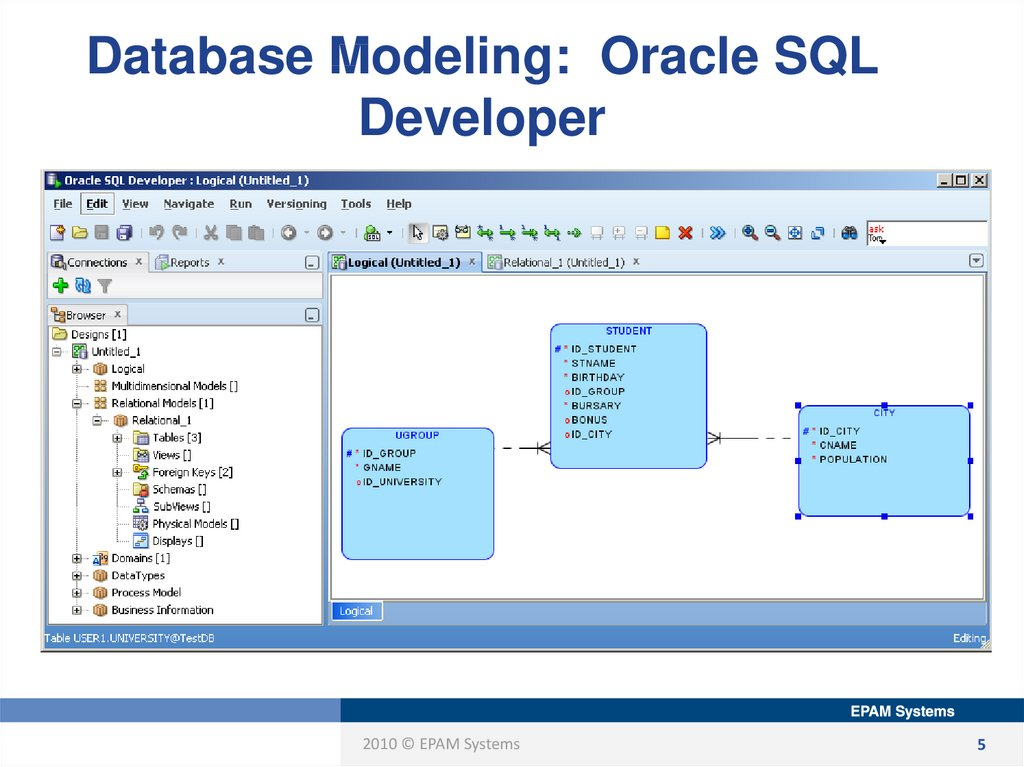 Database Modeling: Oracle SQL Developer