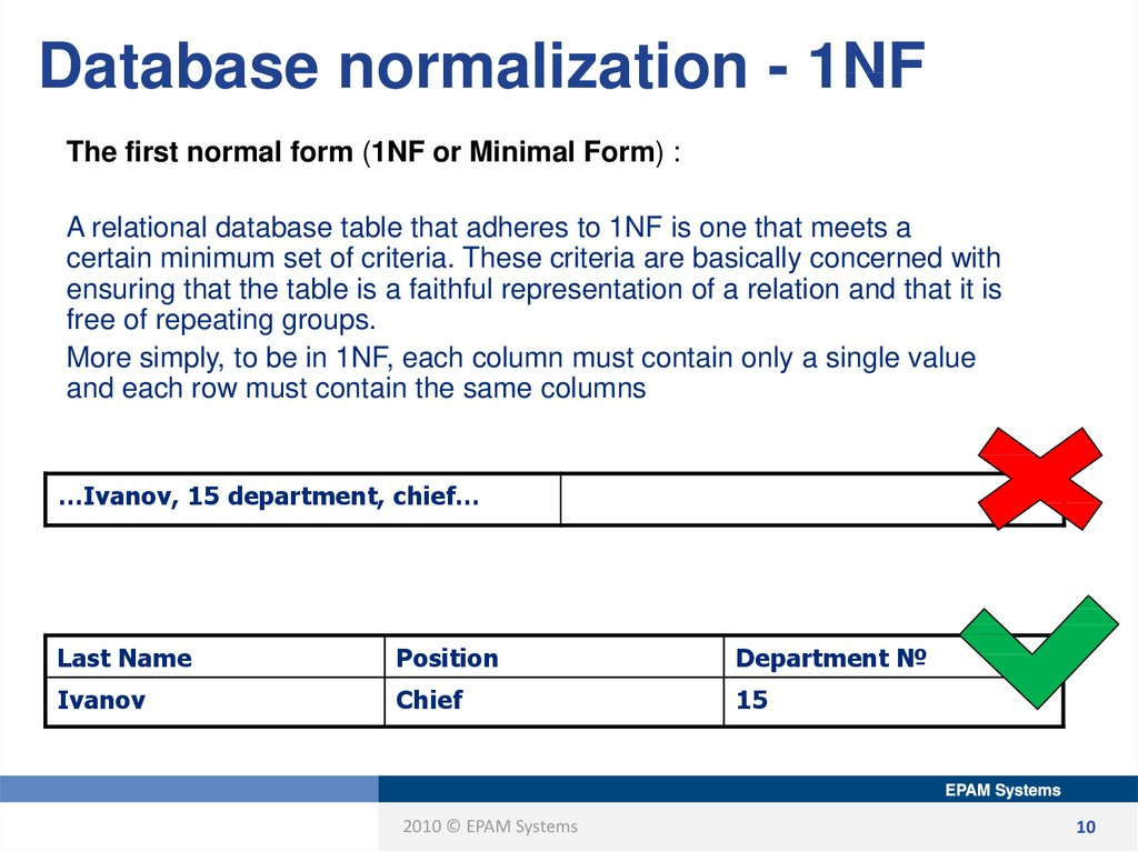 Database normalization - 1NF
