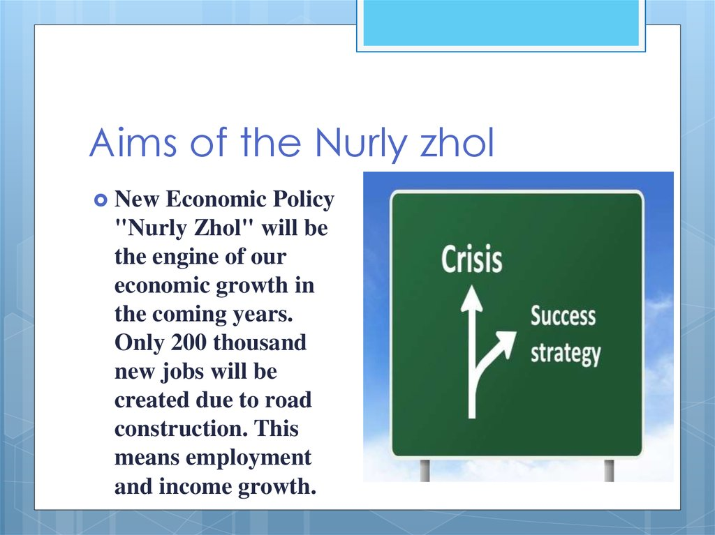 Aims of the Nurly zhol