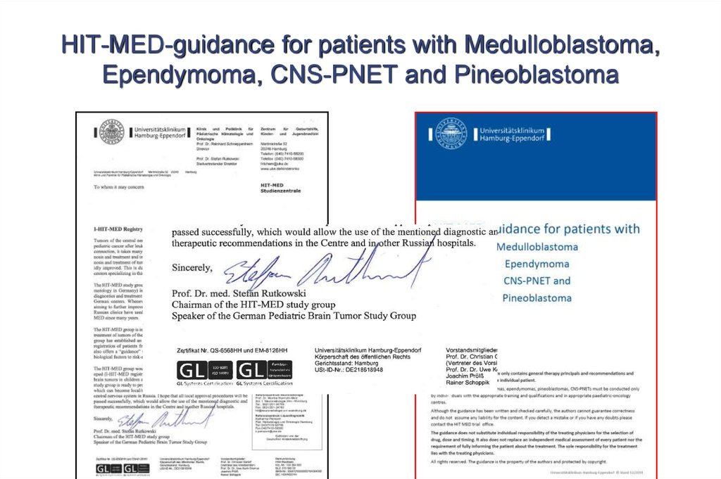 HIT-MED-guidance for patients with Medulloblastoma, Ependymoma, CNS-PNET and Pineoblastoma
