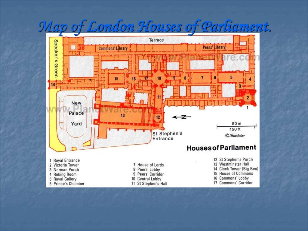 Map of London Houses of Parliament.