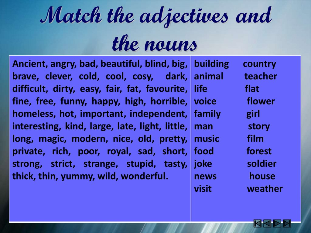 Match the adjectives and the nouns