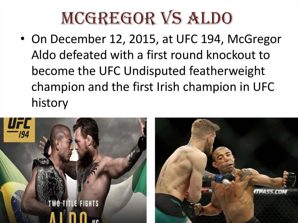 McGregor vs Aldo
