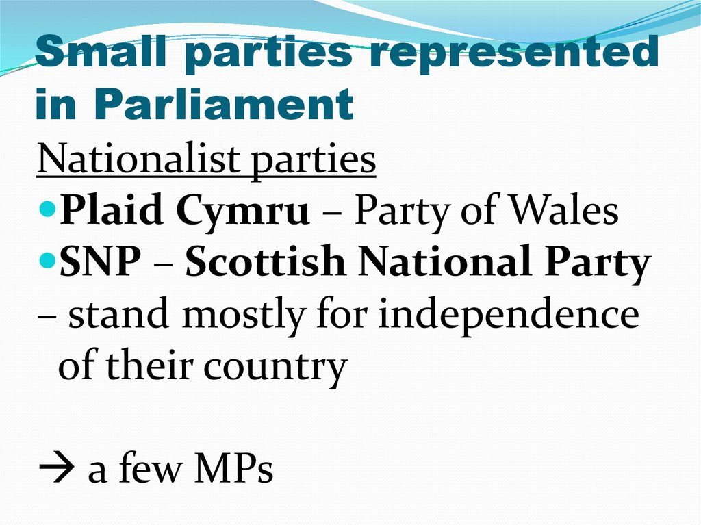 Small parties represented in Parliament