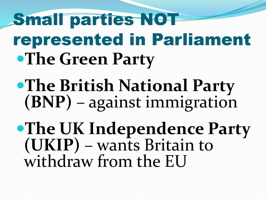 Small parties NOT represented in Parliament