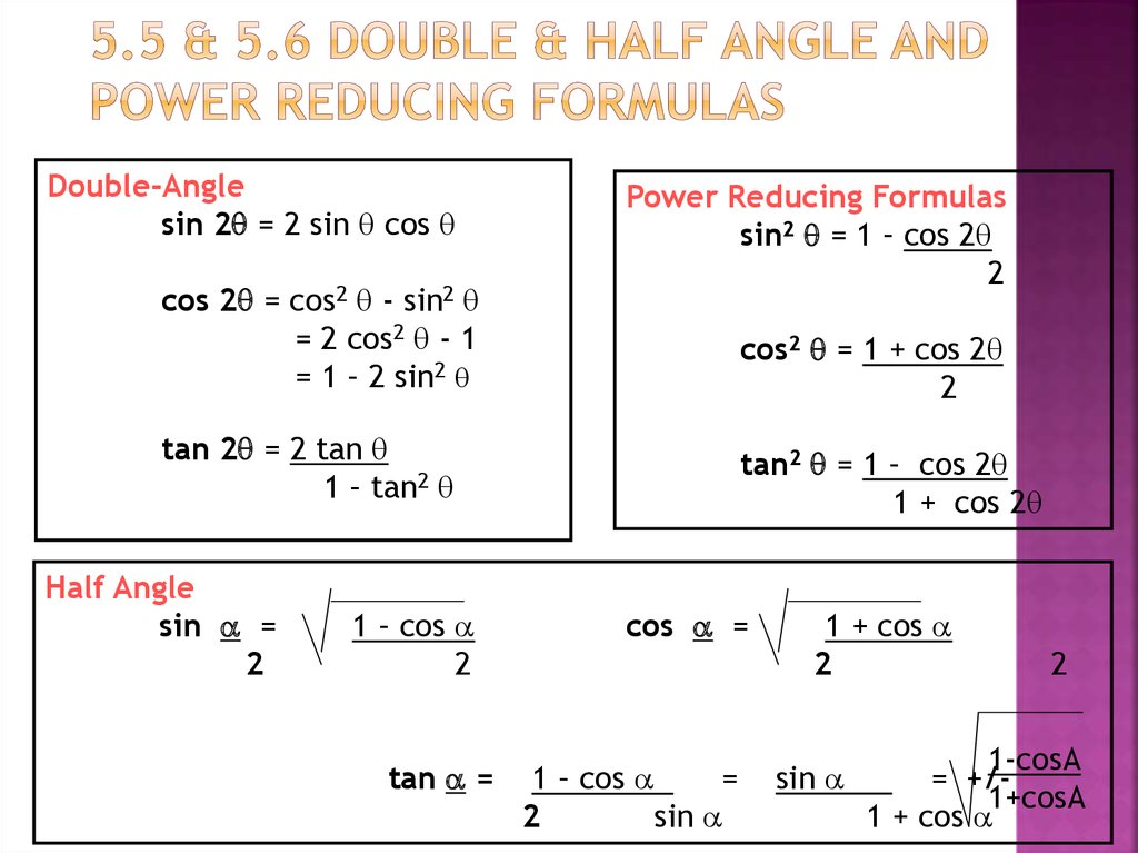 5.5 & 5.6 Double & Half Angle and Power Reducing Formulas