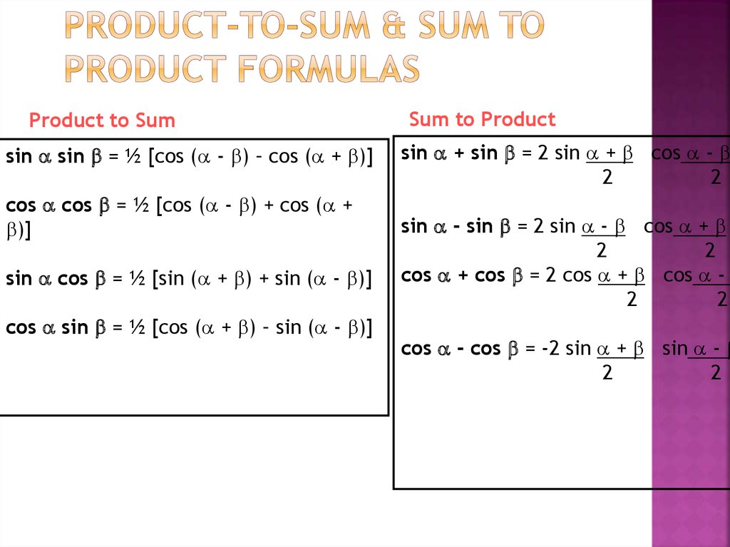 Product-to-Sum & Sum to Product Formulas