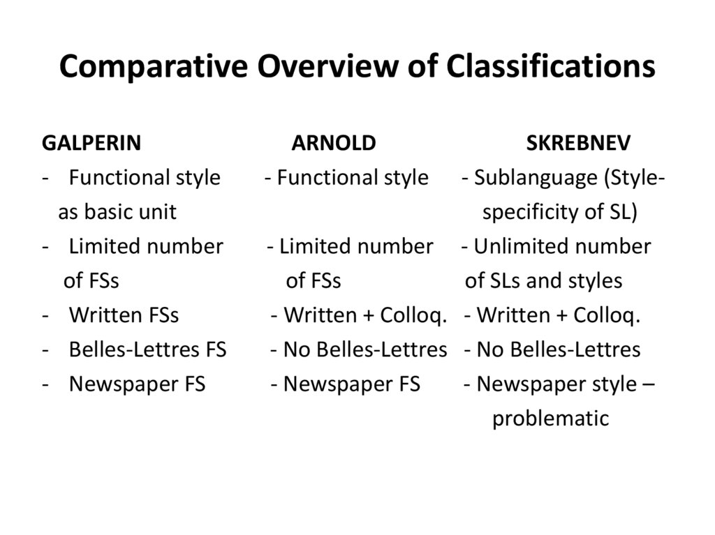Comparative Overview of Classifications