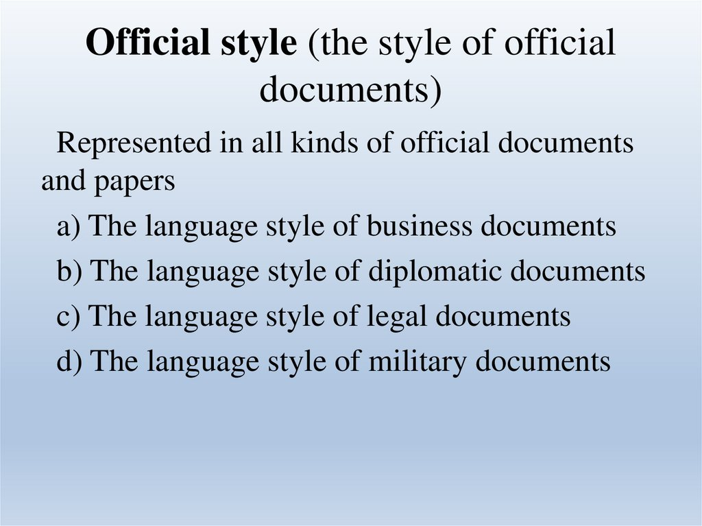 Official style (the style of official documents)