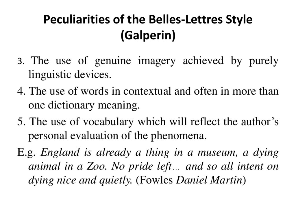 Peculiarities of the Belles-Lettres Style (Galperin)