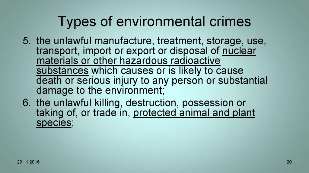 Types of environmental crimes