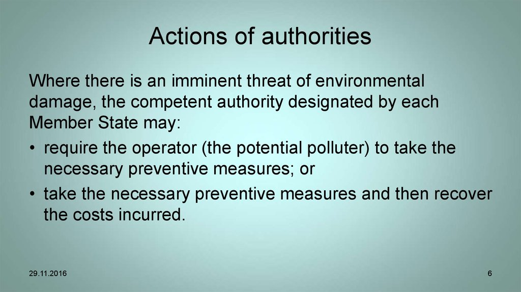 Actions of authorities