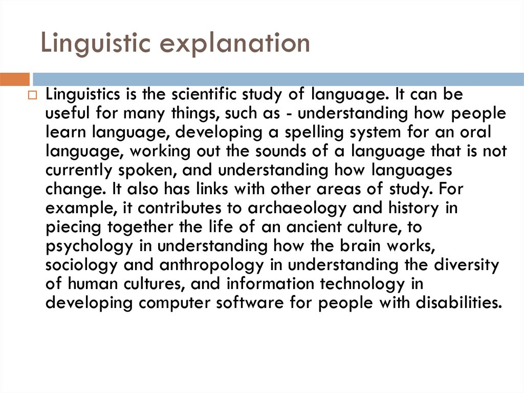 Linguistic explanation