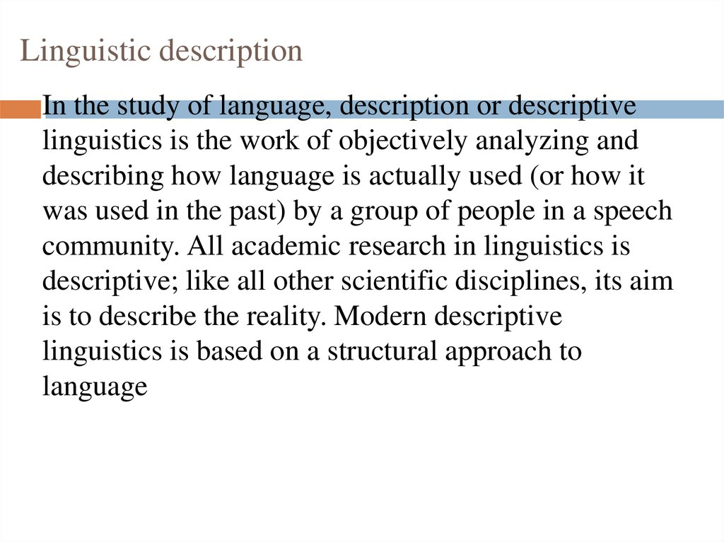 Linguistic description