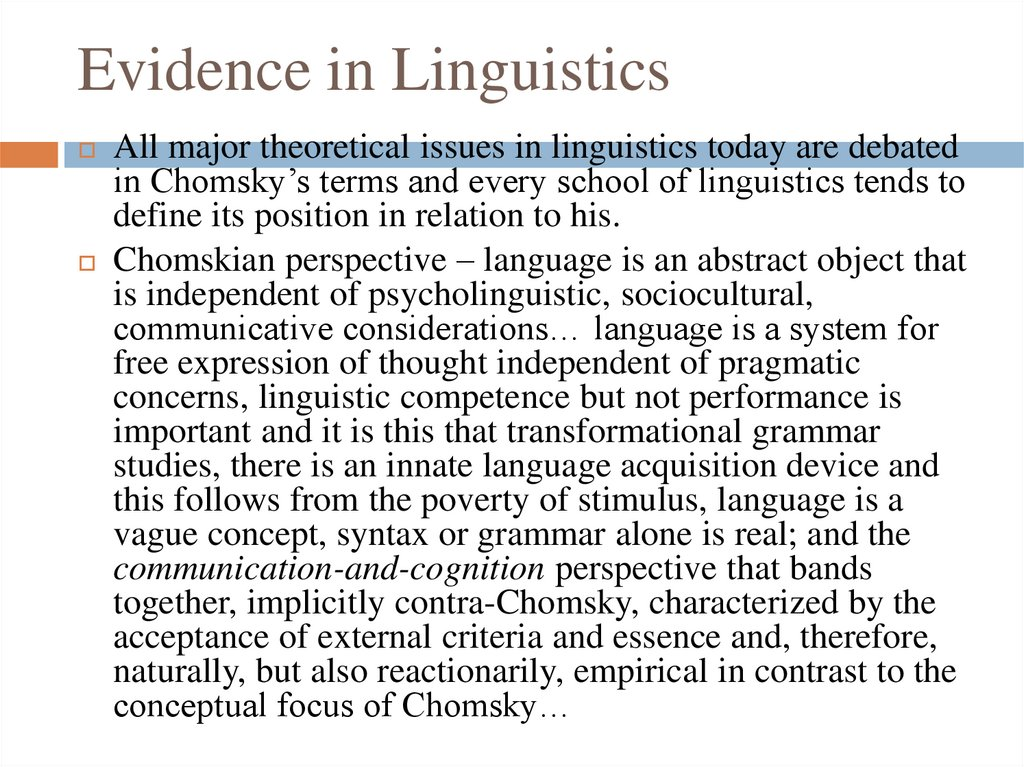 Evidence in Linguistics