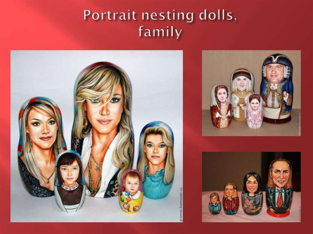 Portrait nesting dolls, family