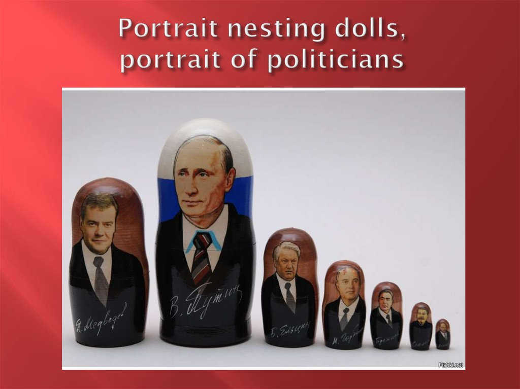 Portrait nesting dolls, portrait of politicians