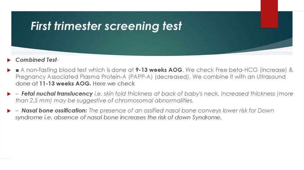 First trimester screening test