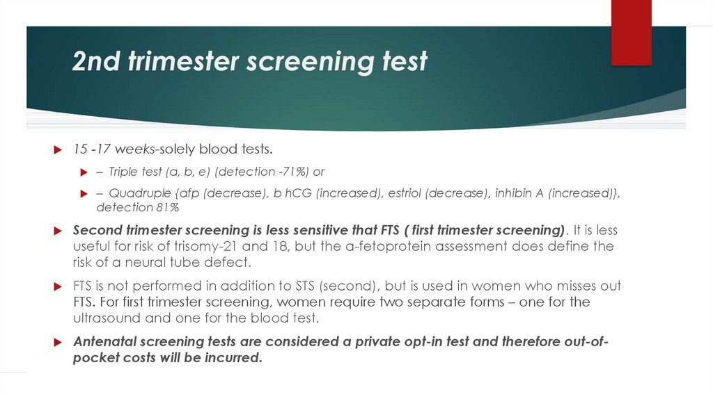 2nd trimester screening test