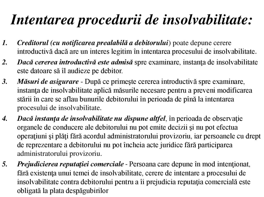 Intentarea procedurii de insolvabilitate: