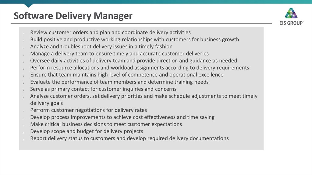 Software Delivery Manager
