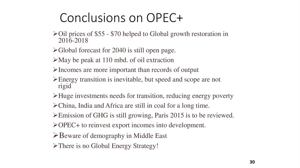 Conclusions on OPEC+