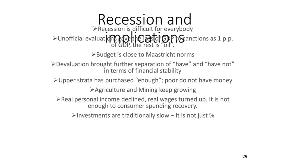 Recession and implications