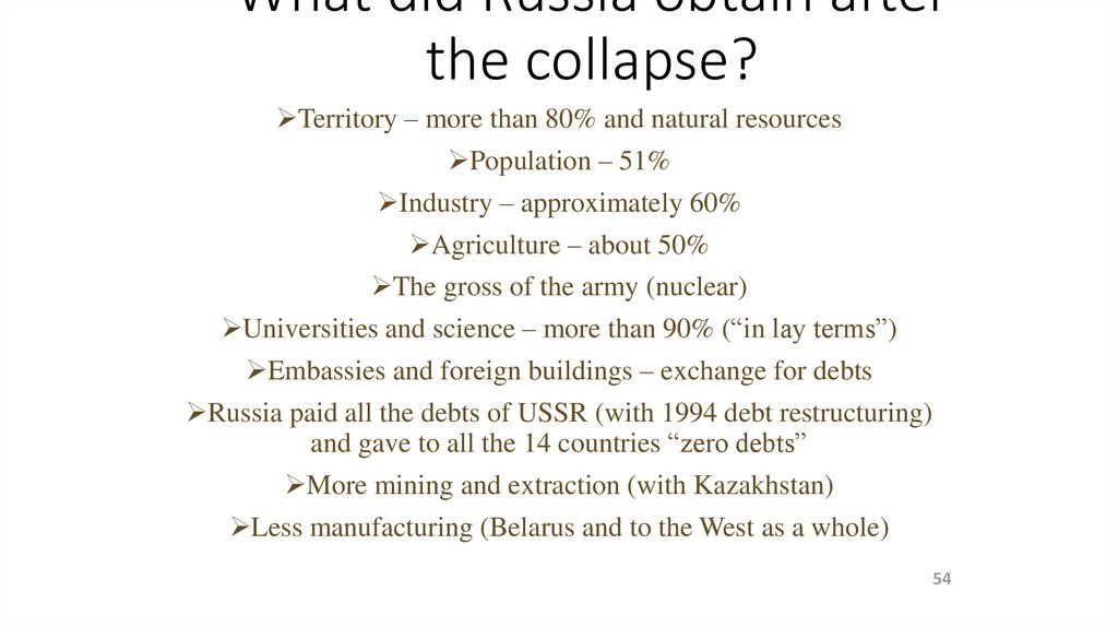 What did Russia obtain after the collapse?