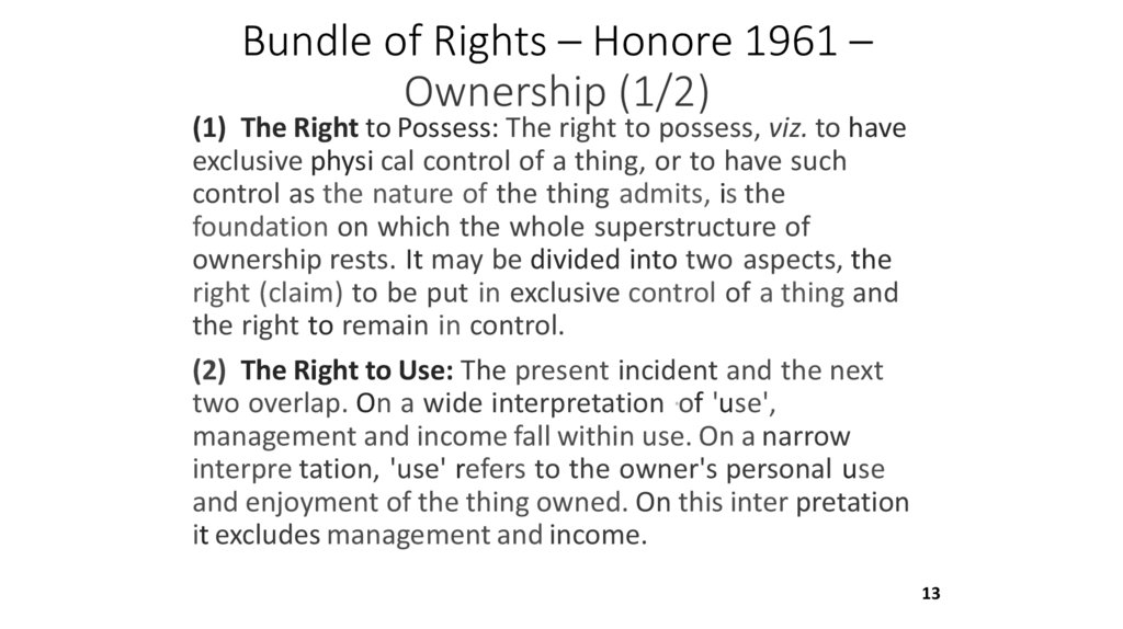 Bundle of Rights – Honore 1961 – Ownership (1/2)