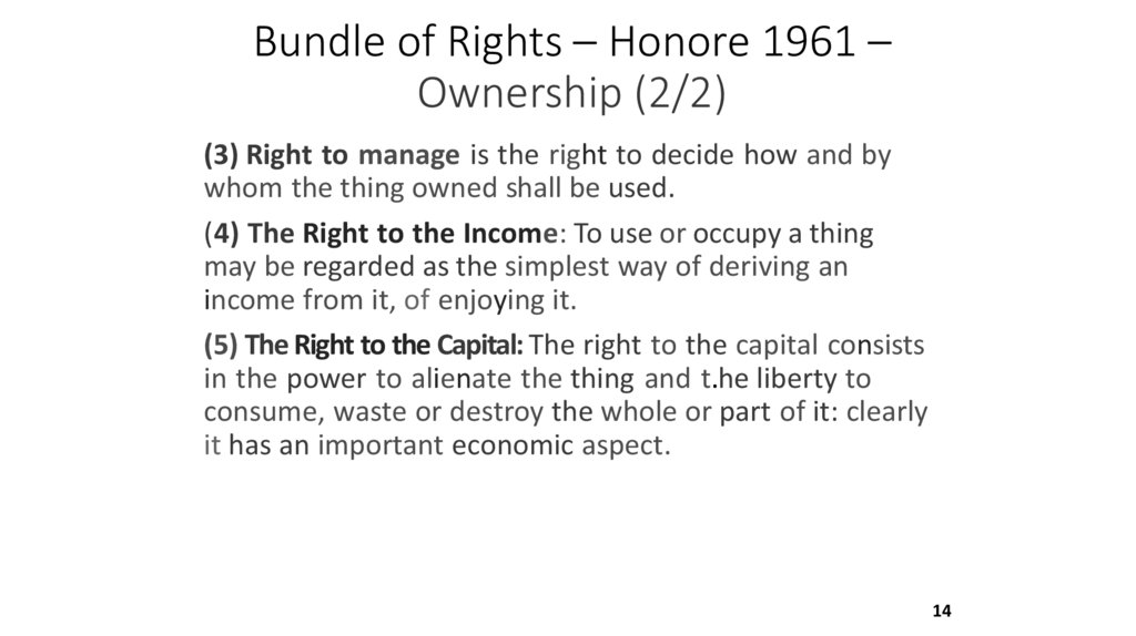 Bundle of Rights – Honore 1961 – Ownership (2/2)