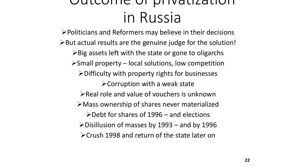 Outcome of privatization in Russia