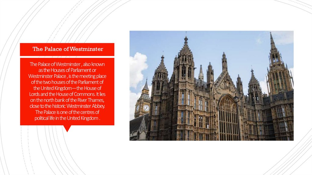 The Palace of Westminster , also known as the Houses of Parliament or Westminster Palace , is the meeting place of the two