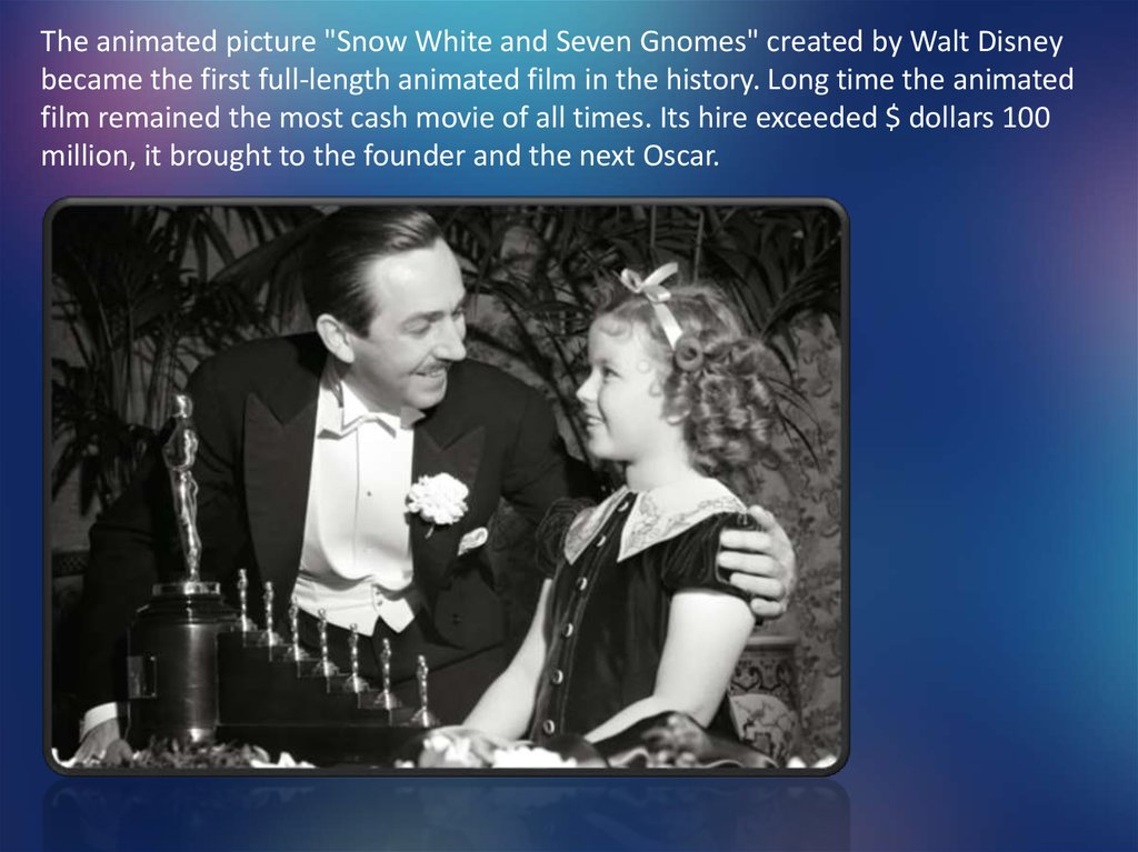 "The animated picture ""Snow White and Seven Gnomes"" created by Walt Disney became the first full-length animated film in the"