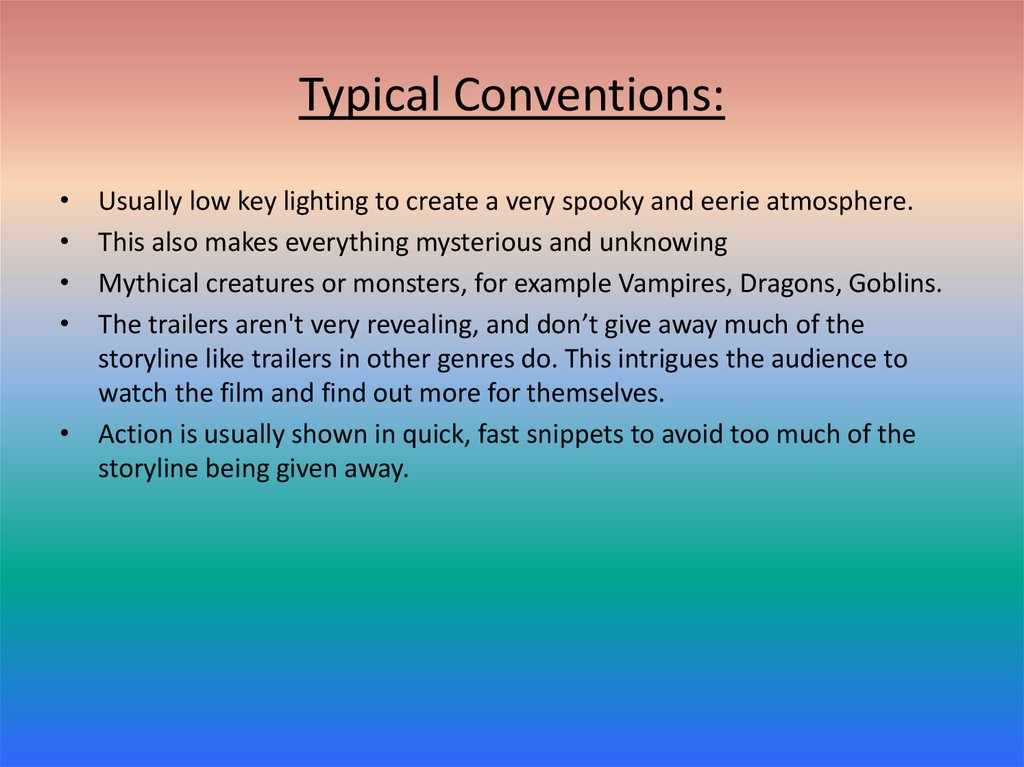 Typical Conventions: