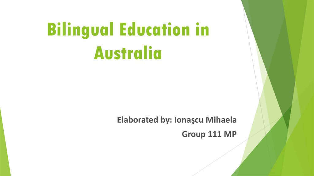 Bilingual Education in Australia