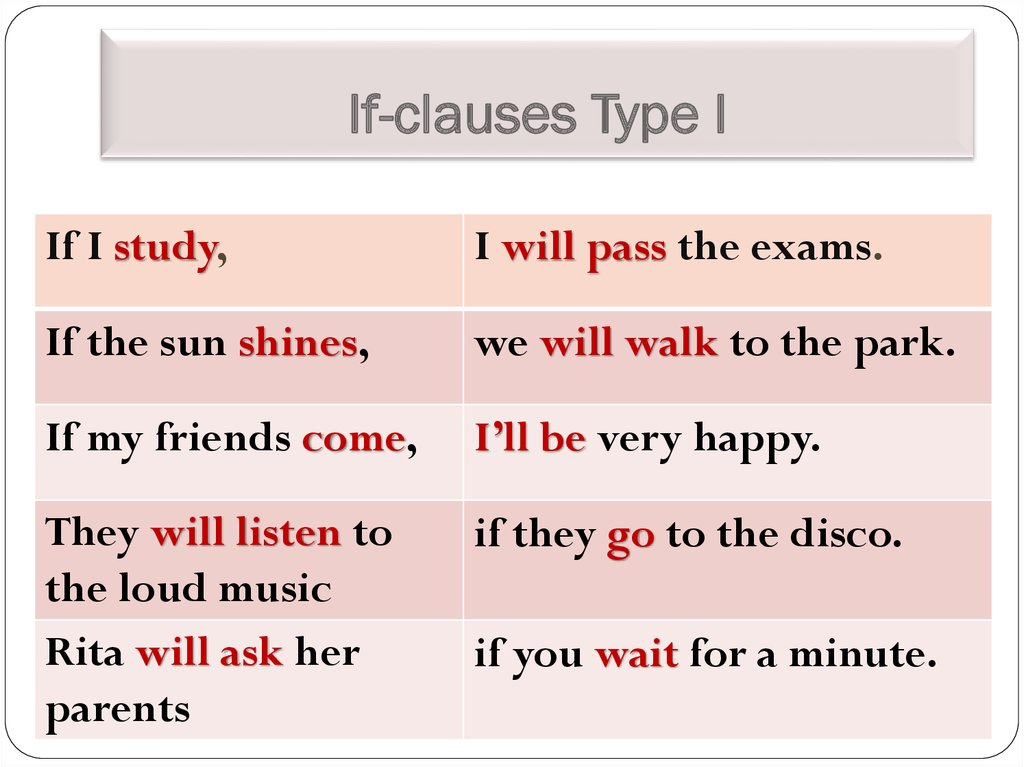 If-clauses Type I