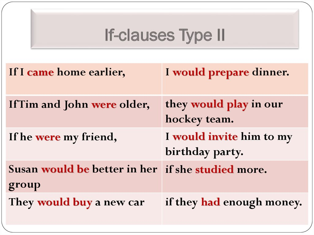 If-clauses Type II
