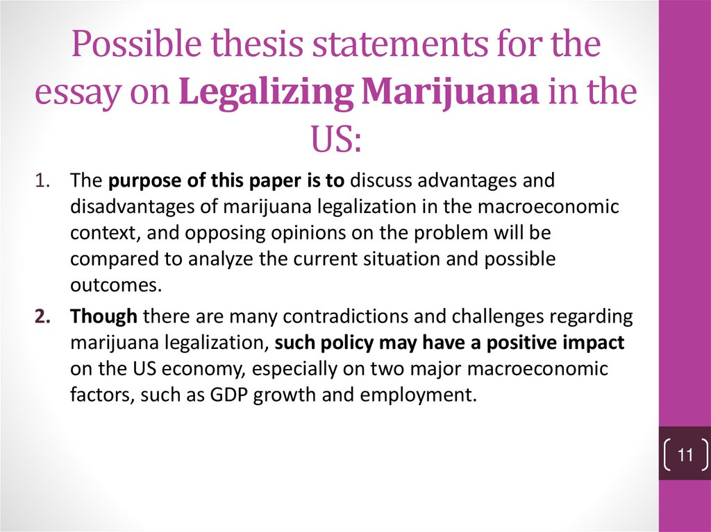 Possible thesis statements for the essay on Legalizing Marijuana in the US:
