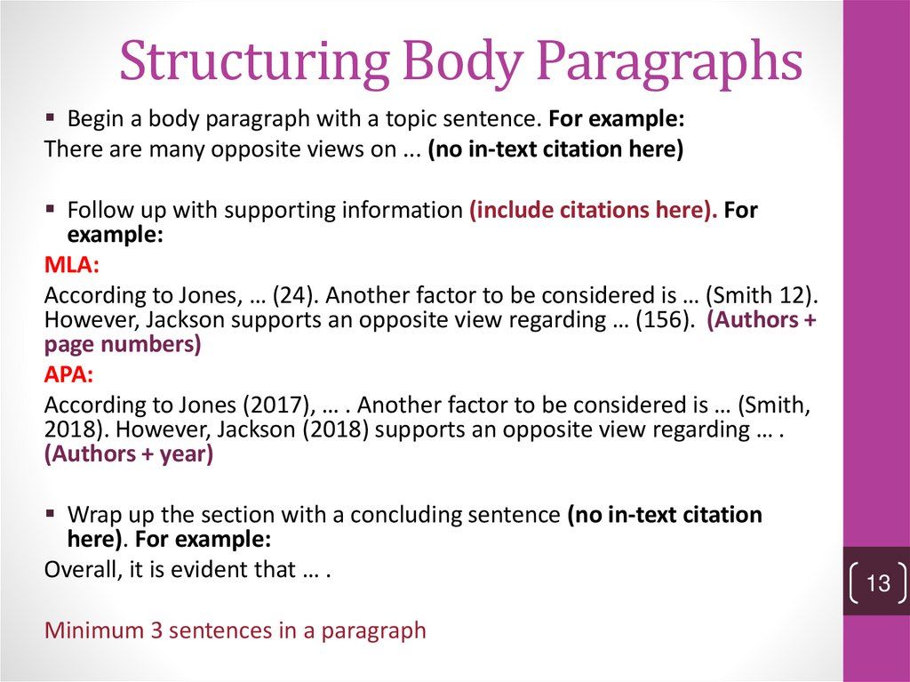 Structuring Body Paragraphs