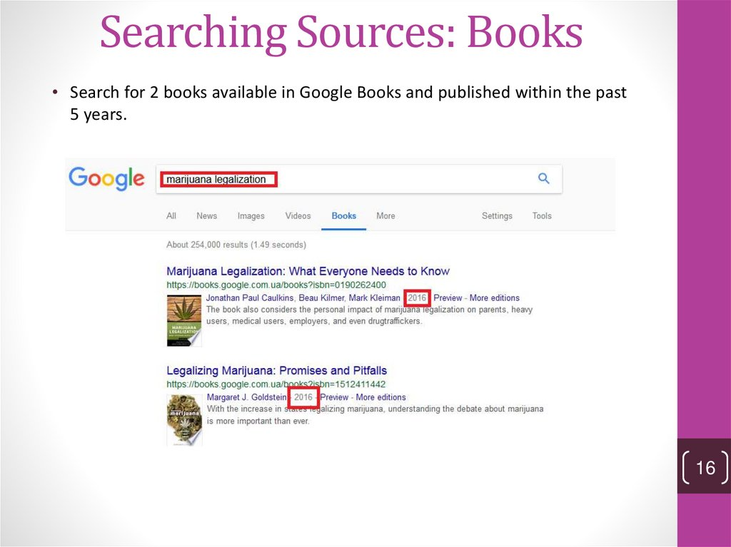 Searching Sources: Books