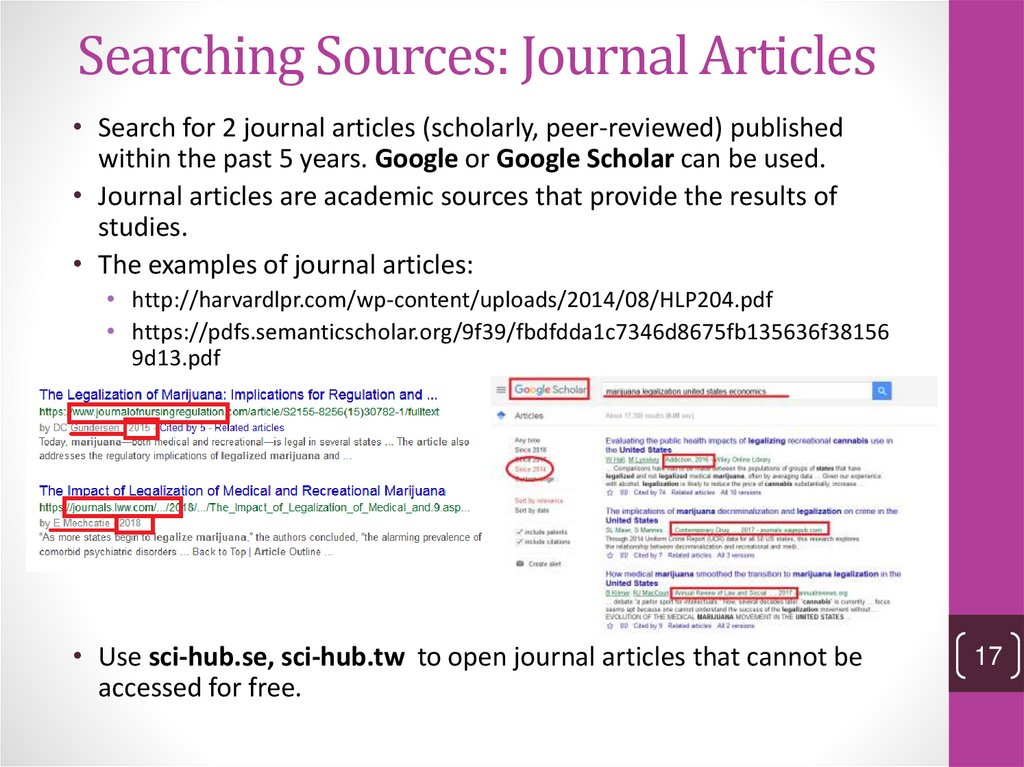 Searching Sources: Journal Articles