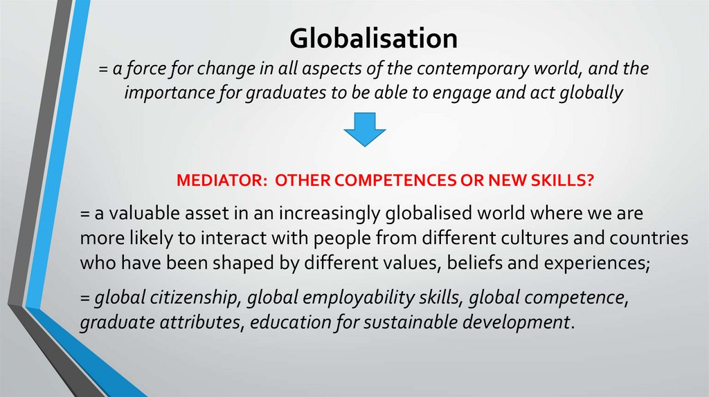 Globalisation = a force for change in all aspects of the contemporary world, and the importance for graduates to be able to