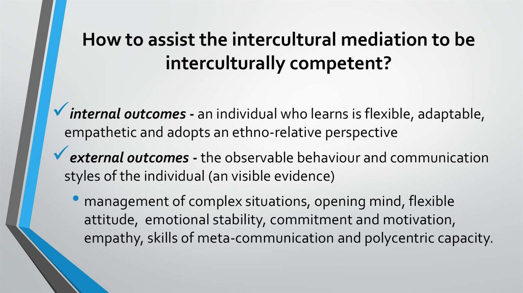 How to assist the intercultural mediation to be interculturally competent?