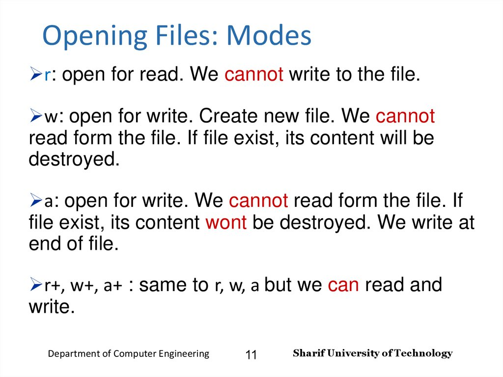 Opening Files: Modes