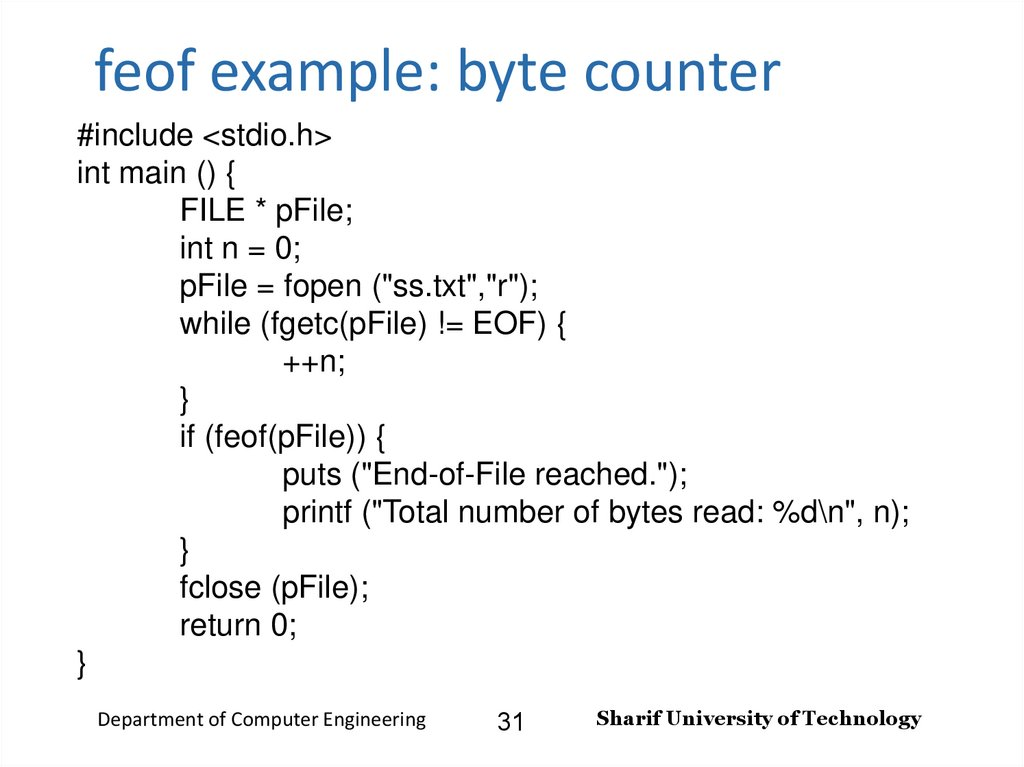 feof example: byte counter