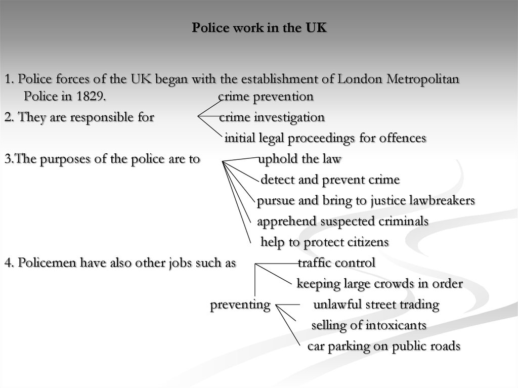 Police work in the UK