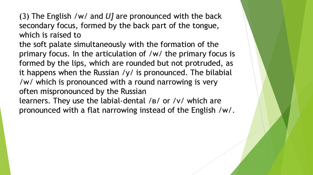 (3) The English /w/ and U] are pronounced with the back secon­dary focus, formed by the back part of the tongue, which is