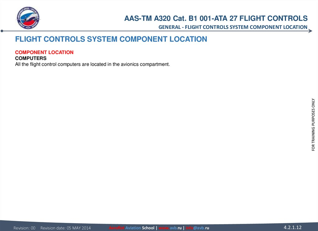 FLIGHT CONTROLS SYSTEM COMPONENT LOCATION COMPONENT LOCATION COMPUTERS All the flight control computers are located in the