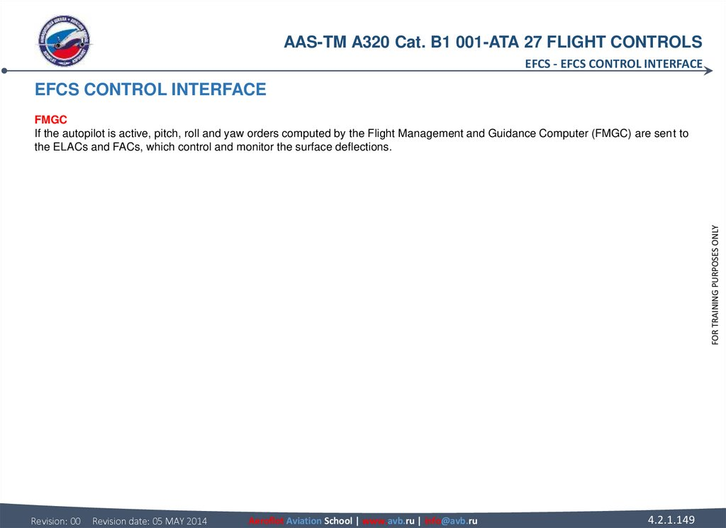 EFCS CONTROL INTERFACE FMGC If the autopilot is active, pitch, roll and yaw orders computed by the Flight Management and