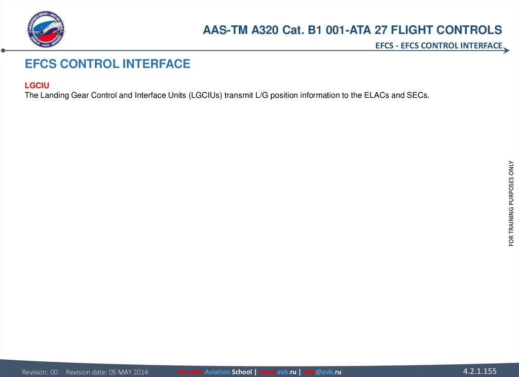 EFCS CONTROL INTERFACE LGCIU The Landing Gear Control and Interface Units (LGCIUs) transmit L/G position information to the